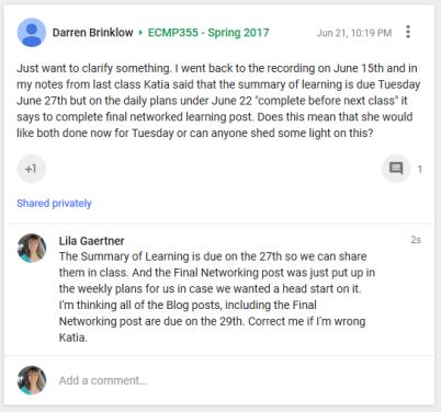 Comment to Darren